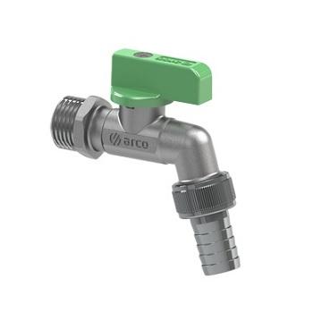 Кран шаровый поливочный (антиналет), НР, металлическая ручка (зеленая), JARDIN, арт.00460   1/2″х 15 мм