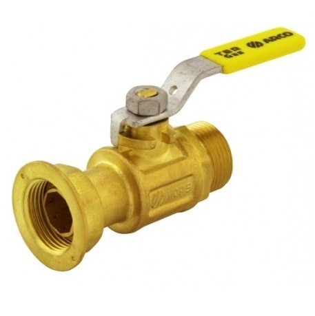 Кран шаровый, газ, ВP/НР, стальной рычаг (желтый), латунь, TER арт.00512  1 ¼ «