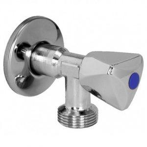 Кран шаровый угловой, для стираной машины, НP/HР, антиналет, хромированный, арт.00728MLZ   1/2″ х 3/4″
