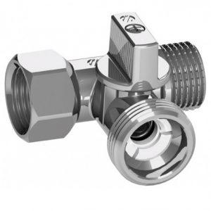 Кран шаровый T-образный, НР/НР/ВР, «флажок», латунь, никелированный, PN 16, MINI, арт.A0223510  1/2″х 3/4″х 1/2″
