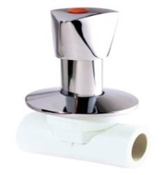 (AST) Вентиль ППР под штукатурку, ручка Lux (бел.)