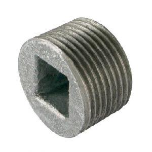 (ATU) Оц-596 Заглушка-пробка под четырехгранный ключ НР, чугун оцинкованный