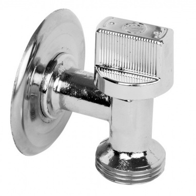 Кран шаровый угловой, для стираной машины, НP/HР, L-86, хромированный, арт.00729  1/2″ х 3/4″