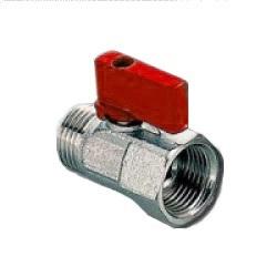 Кран шаровый, ВР/НР, «флажок» красный, латунь, никелированный, PN 16, MINI, арт.R2207  1/2″