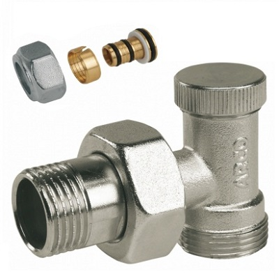 Вентиль прямой, угловой, нижний, латунь, НР/НР, , LOCKSHIELD, арт.М7592   1/2″ х М24