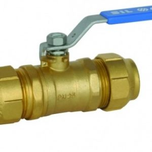 Кран шаровый, для PE-x труб, стальной рычаг, РN50, латунь, SIL арт.М1281 25 х 25