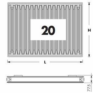 Радиаторы DeLonghi Radel, тип 20, нижнее подключение