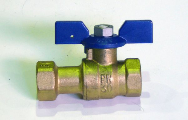 Кран шаровый с обратным клапаном, ВP/ВР, «бабочка», РN50, латунь, SIL арт.М1290P  1/2″