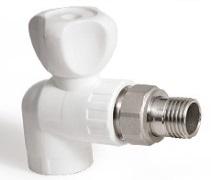 (AST) Кран радиаторный ППР угловой PN25 НР (бел.)