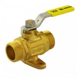 Кран шаровый с креплением, газ, НР, стальной рычаг, желтый, TER, арт.00606  1/2″